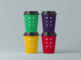 Four Paper Cups Mockup 四纸杯模型