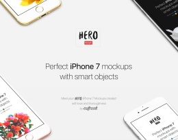 完美的iPhone 7模型为您的iPhone展示创建 HERO iPhone 7 Mockups