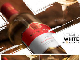 洋酒酒瓶细节样机模板 Details Wine Mockup – Bordeaux White