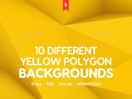 10款不同的抽象多边形背景 10 Different Yellow Polygon Backgrounds