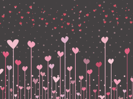 可爱的粉红爱心 Black background with pink hearts for valentine