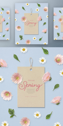 春季春天韩式唯美小清新海报PSD模板Korean spring air beauty poster PSD template Vol.02