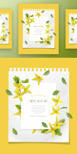 春季春天韩式唯美小清新海报PSD模板Korean spring air beauty poster PSD template Vol.16