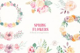春天的花朵 - 水彩画集 Spring Flowers- Watercolor set