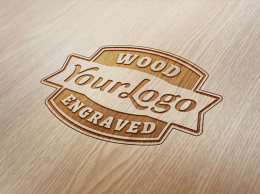 木雕刻的标志样机 Wood Engraved Logo Mock U