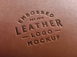 皮革冲压标志样机 Leather Stamping Logo MockUp 2