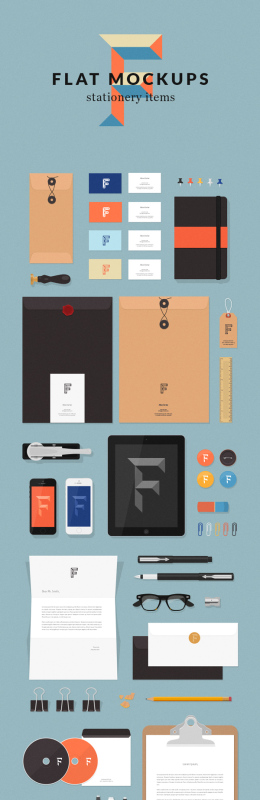 平板样机文具用品 Flat MockUps Stationery Items