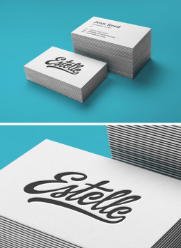 叠印凸版名片样机 Stack Letterpress Business Card MockU