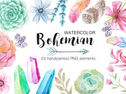 夏季水彩花束 多肉自然集合 Watercolor Bohenian Nature Set