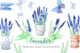 水彩蓝色薰衣草花 Watercolor Blue Lavender Flowers