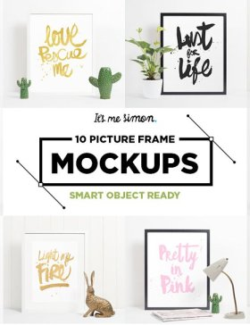 10种不同的画框样机 10 picture frame mockups photoshop