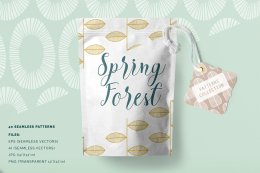春天森林无缝图案纹理 Spring Forest Seamless Patterns