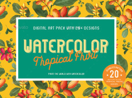 20种热带水果水彩纹理图案 20 Watercolor Tropical Fruits Seamless Pattern