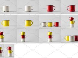 搪瓷茶杯样机模板 Enamel Mug Mock-Up Photo Bundle