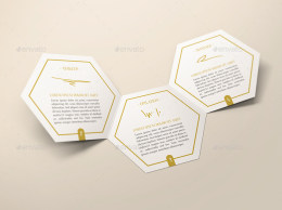 六边形折页宣传小册样机 Hexahedron Trifold Brochure Mock-Up