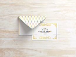 A6明信片和信封邀请传单设计样机 A6 Postcard & Envelope Invitation Flyer MockUp