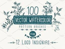 水彩矢量背景纹理笔刷 Watercolor vector pattern brushes