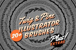 嫩枝树枝插画AI笔刷 Twig & Pine Illustrator Brushes