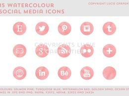 水彩社交媒体图标 Watercolour social media icons