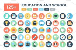 125+枚教育&学校主题图标 125+ Flat Education and School Icons