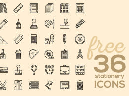 36种文具线性图标 36 Free Stationery Linear Icons