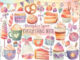 糖果甜点水彩剪贴画 Watercolor Sweets & Treats Clipart