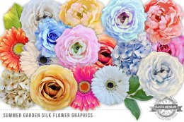 夏日花园丝绸花卉剪贴画 Summer Garden Silk Flowers Graphics