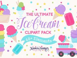手绘风格冰淇淋矢量素材 The Ultimate Ice Cream Clipart Pack