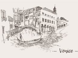 威尼斯素描剪影画 Set of sketches of Venice