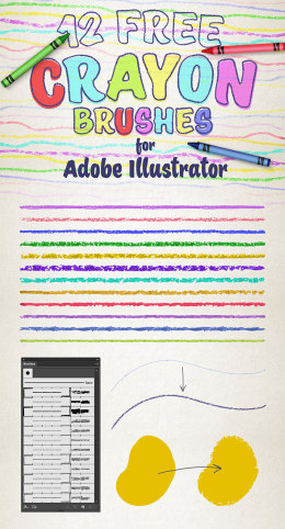 12可用于AI的蜡笔效果笔刷 12 Free Wax Crayon Effect Brushes for Adobe Illustrator