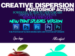 动感创意 3D 泼墨特效 PS 动作 3D Splashes V1.1 Dispersion Photoshop Action