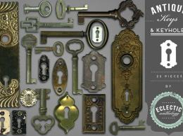 古董钥匙和钥匙孔图形 Antique Keys and Keyholes Graphics