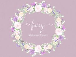 花环花束水彩剪贴画 Fairy. Purple Watercolor Clipart.