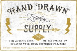 手绘字体设计素材包 Hand Drawn Lettering Supply Kit