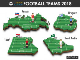 2018俄罗斯足球世界杯分组信息3D矢量设计 Football player and flag on 3d design country map