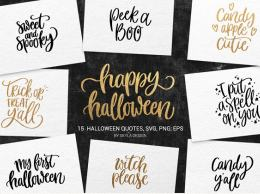 15种万圣节SVG文字元素 15 Halloween quotes bundle SVG
