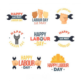 劳动节徽章 Set of labour day badges in flat style
