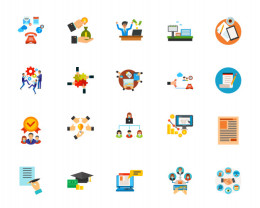 商务合作插画图标合集 Business communication icon set