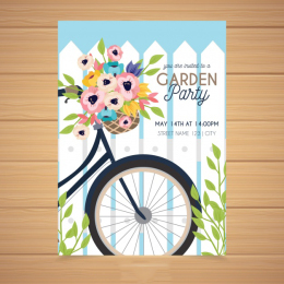 特色手绘春天气息的派对邀请卡 Spring garden party invitation in hand drawn style