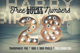 3D马赛克灯泡数字 Free White Bulbs 3D Numbers