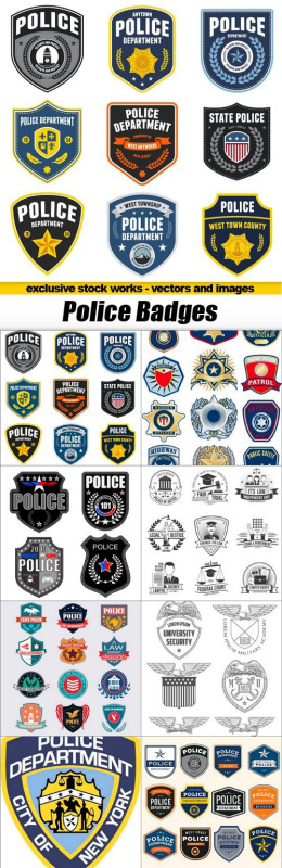 警察徽章矢量素材包 Police Badges – 10x EPS