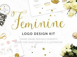 Logo 设计工具包 Feminine LOGO DESIGN KIT!