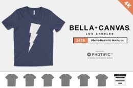 好用的V领T恤样机 Bella Canvas 3415 V-Neck Mockups
