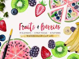 夏日水果和浆果水彩画高清免扣素材 FRUITS + BERRIES watercolor set
