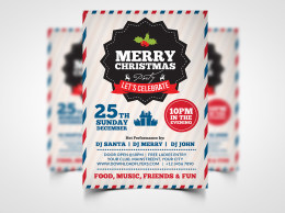 Merry Christmas Party Flyer Template PSD