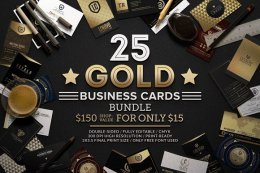 25款金色质感名片精美模板PSD源文件25 Gold Business Cards Bundle