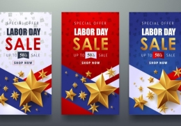劳动节竖版促销矢量海报Labor day sale promotion advertising banner template68...