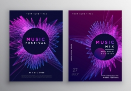 音乐派对矢量海报Music Party Flyer Poster Invitation Template Design