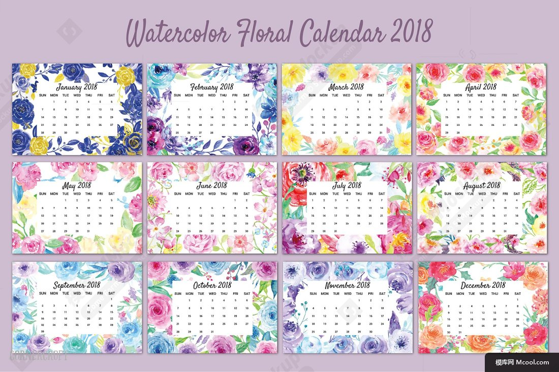 水彩花卉元素日历模板Watercolor Flower Calendar 2018 -