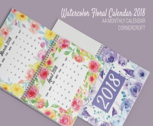 水彩花卉元素日历模板Watercolor Flower Calendar 2018